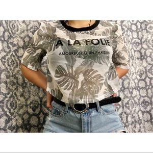 SUPER CUTE H&M sheer loose fitted crop top!🌿🌱